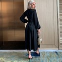 V-Neck Long Sleeves Black Casual Dress With Buttons Down The Front