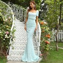 Sequin Mermaid Square Neck Prom Dress With Short Sleeves