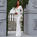 White Sequin Mermaid V-Neck Lace Overlay Prom Dress With Long Sleeves
