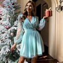 V-Neck Ruched Tulle Cocktail Dress With Long Sheer Sleeves
