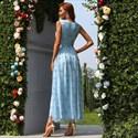 Sky Blue Sweetheart Polka-Dot Sleeveless Casual Tulle Midi Dress