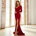 Burgundy Mermaid V-Neck Split Front Long Sleeves Prom Evening Dresses