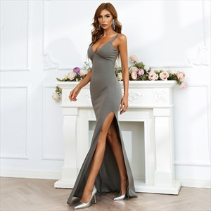Grey Deep V-Neck Spaghetti Straps Prom Dresses With Slits Up The Side