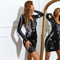 Black V-Neck Sequin Embellished Sheath Long Sleeves Cocktail Dresses