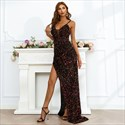V-Neck Sequin Spaghetti Straps Evening Dresses With Slits Up The Side