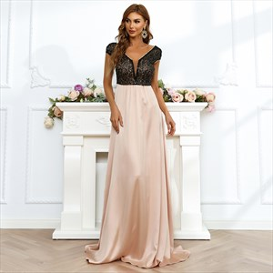 A-Line V-Neck Sequin Bodice Cap Sleeves Prom Formal Dresses