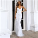 V-Neck Lace Backless Prom Dresses With Criss-Cross Straps