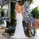 White Mermaid Lace Overlay Backless Prom Dress With Criss-Cross Straps