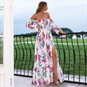Off The Shoulder Floral Print Split Front Maxi Dress With Sleeves