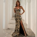 Gold Mermaid Lace Overlay V-Neck Evening Dress With Criss-Cross Straps