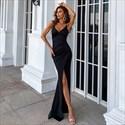 Black V-Neck Spaghetti Straps Ruched Split Front Mermaid Prom Dresses