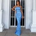 Aqua Blue Long Spaghetti Straps Lace Overlay Mermaid Prom Dresses