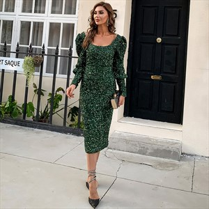 Sequin Mermaid Square Neck Cocktail Dresses With Long Sleeves