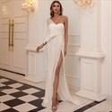 Sequin One Shoulder Prom Evening Dress With Split Front