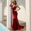 V-Neck Double Spaghetti Strap Mermaid Backless Prom Dresses