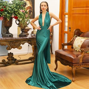Plunging Neckline Ruched Mermaid Backless Prom Dress