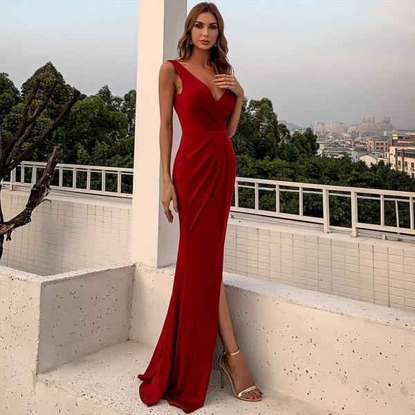 Burgundy Long V-Neck Sleeveless Ruched Bodice Split Front Prom Dresses