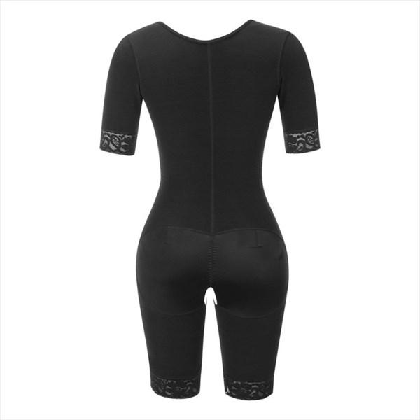 Full Body Slimming Shaper Panties Shapewear Hooks Half Sleeve Bodysuit