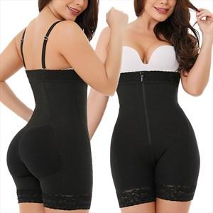 Butt Lifter High Waist Shaper Shorts With Zipper Front