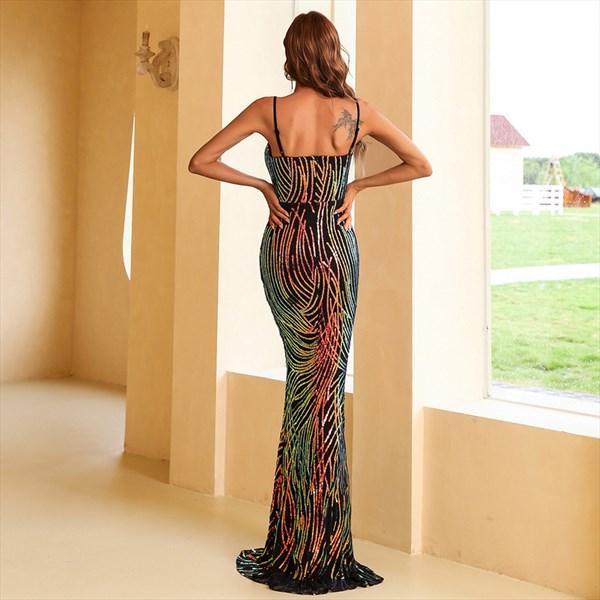 Long Black Mermaid V-Neck Spaghetti Straps Prom Evening Dresses