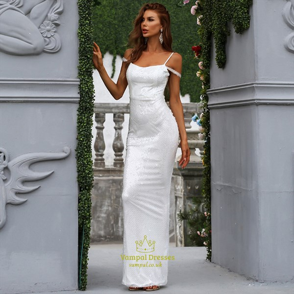 White Sequin Sheath/Column Off The Shoulder Prom Evening Dresses