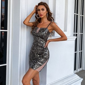 Sequin Short Spaghetti Straps Homecoming Party Dresses