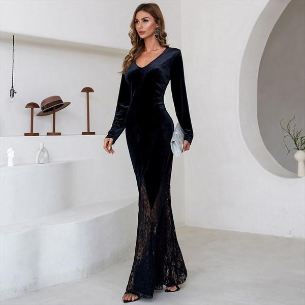Sheath/Column V-Neck Long Sleeves Prom Dresses With Lace Embellished