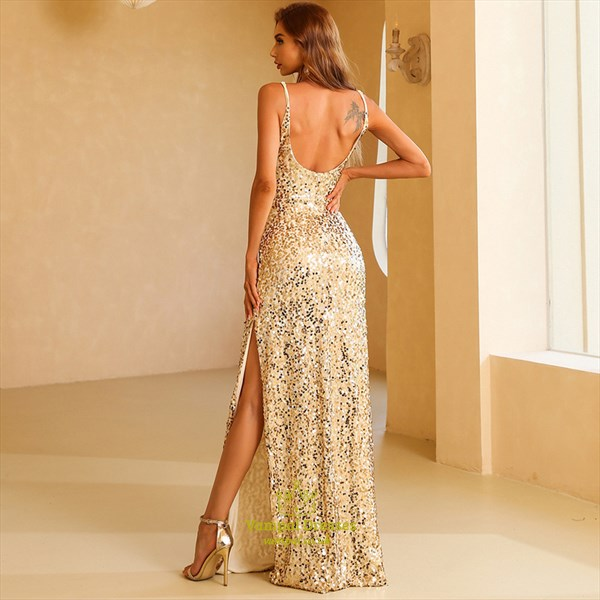 Gold Sequin Sheath Spaghetti Straps Prom Dresses With Side Opening