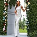 White Long Mermaid Sleeveless Sequin Embellished Prom Dresses