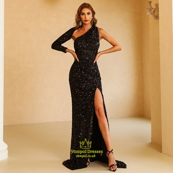 Black Sequin Split Front Backless Prom Dresses With One Long Sleeve