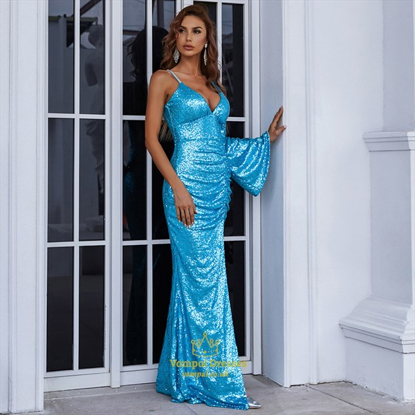 Aqua Blue Deep V-Neck Ruched Sequin Prom Dresses With One Long Sleeve