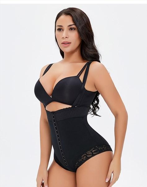 High Waist Adjustable Crotch Butt Lifting Open-Bust Panty Bodysuit
