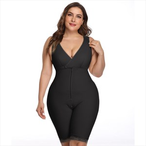 V-Neck Sleeveless Mid-Thigh Bodysuit Shaper With Butt Lifter