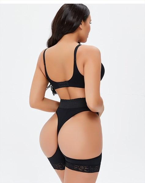High Waisted Lace Trim Hollow Buttocks Shapewear Shorts