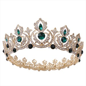 Alloy Beaded Bridal Tiara In Round With Rhinestone Accents