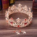 Baroque Bridal Tiara In Round With With Rhinestone Accents