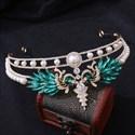 Peacock Zircon Pearls Bridal Tiara With Rhinestone Accents