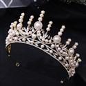 Dramatic Rhinestone Crystal Bridal Tiara With Pearls