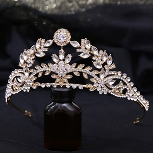 Alloy Zircon Leaf Bridal Tiara With Rhinestone Accents