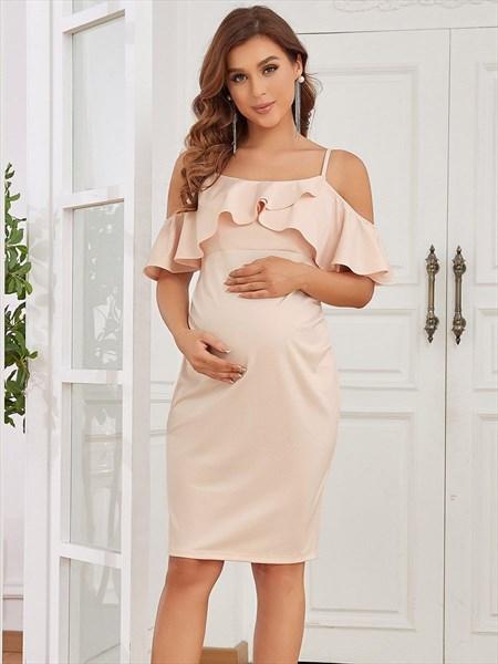 Peach Short Ruffles Sleeves Spaghetti Straps Maternity Dresses