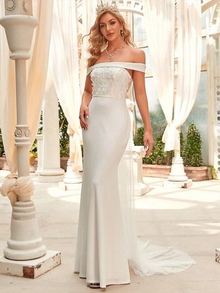 Ivory Off The Shoulder Mermaid Flower Embellished Wedding Dresses
