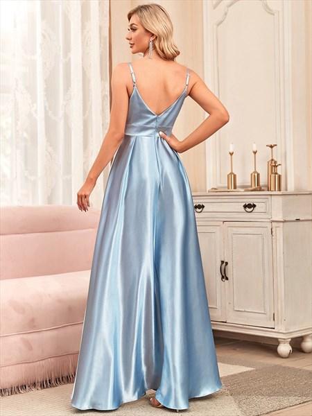Blue Spaghetti Straps V-Neck A-Line Ruched Bridesmaid Dresses