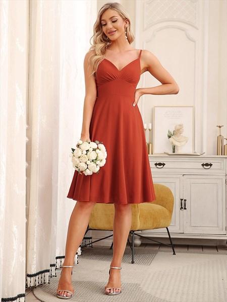 V Neck A-Line Knee Length Spaghetti Straps Bridesmaid Dresses