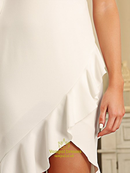 Ivory Sheath Spaghetti Straps Asymmetrical Hem Cocktail Dresses