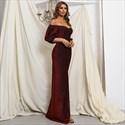 Burgundy Long Off The Shoulder Split Front Prom Dresses With Sleeves