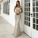Sequin Overlay Mermaid Ruched Bodice Prom Dresses With Straps