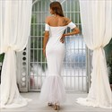 White Off The Shoulder Mermaid Prom Dresses With Short Sleeves