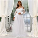 White Lace Ruched Bodice Tulle Wedding Dress With Long Sleeves