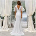 White Deep V-Neck Mermaid Satin Prom Dress With Flutter Sleeves