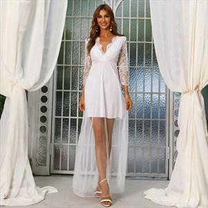 White V-Neck Lace Embellished Beach Wedding Dress With Long Sleeves